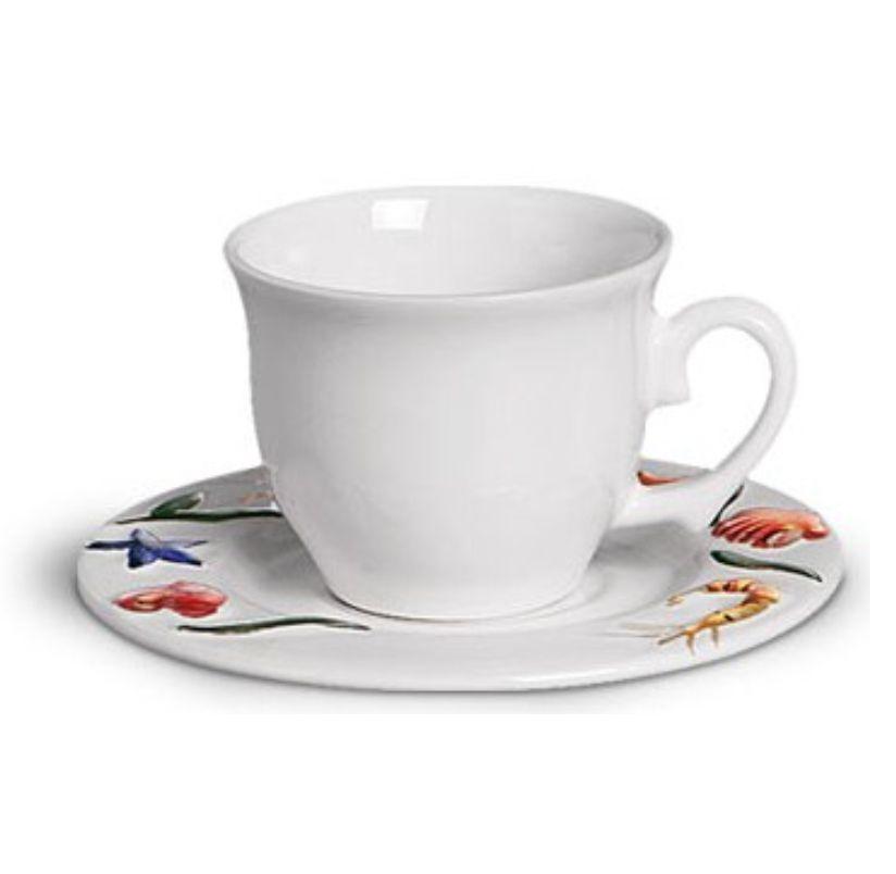 Xícara p/ Chá Mar Decorado (6 Unidades)