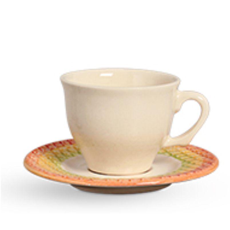 Xícara p/ Chá Abacaxi Decorado (6 Unidades)