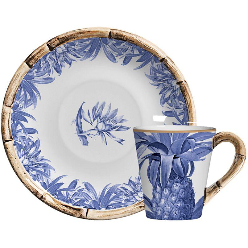 Xícara p/ Chá Abacaxi Azul Royal (06 Unidades)