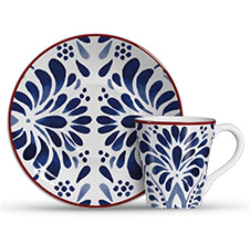 Xícara p/ Chá Aquarelle Azul (6 Unidades)