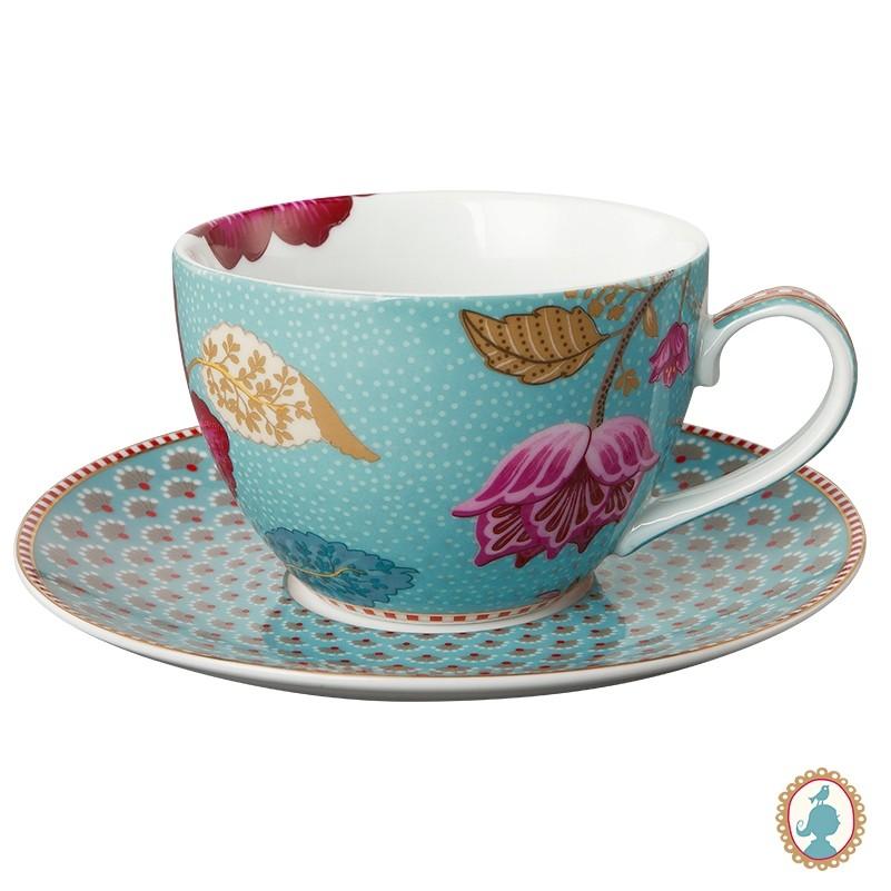 Xícara de Chá Azul - Floral Fantasy