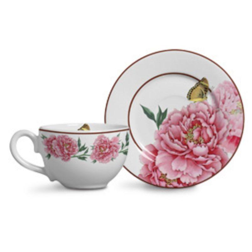 Xícara p/ Chá Bouquet Branco (6 Unidades)