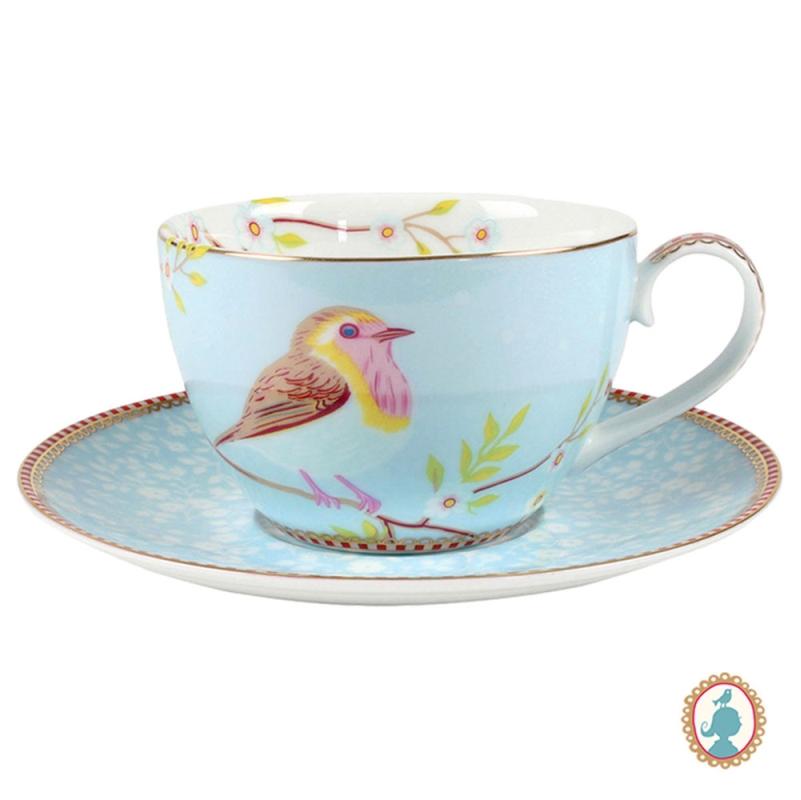 Xícara de Chá c/ Pires Early Bird Azul Floral Pip Studio