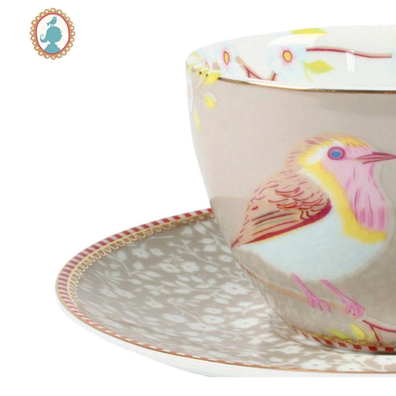 Xícara de Chá c/ Pires Early Bird Cáqui Floral Pip Studio