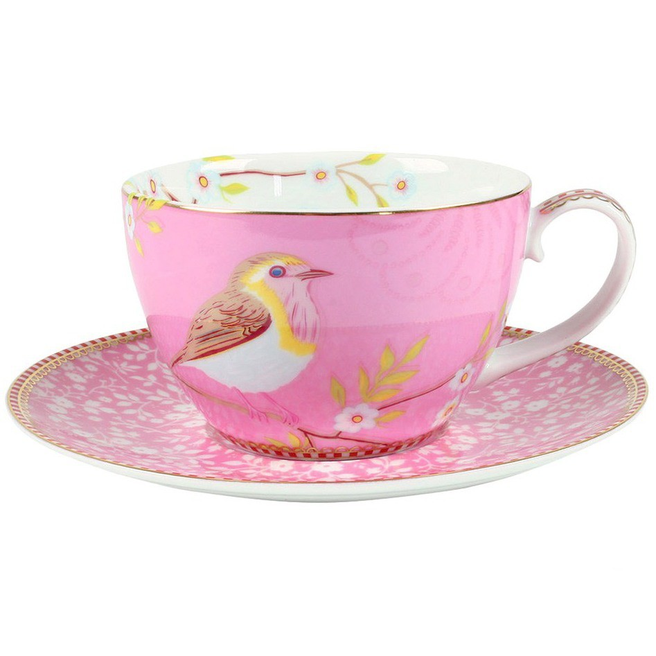 Xícara de Chá c/ Pires Early Bird Rosa Floral Pip Studio