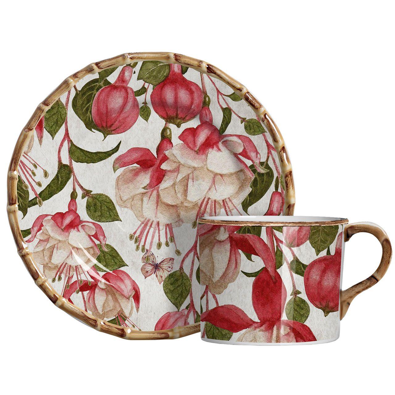 Xícara de Chá c/ Pires Fuchsia Flowers (06 Unidades) Cód.: 6446 - MB