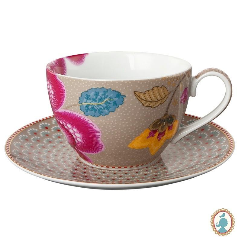 Xícara de Chá Cáqui - Floral Fantasy