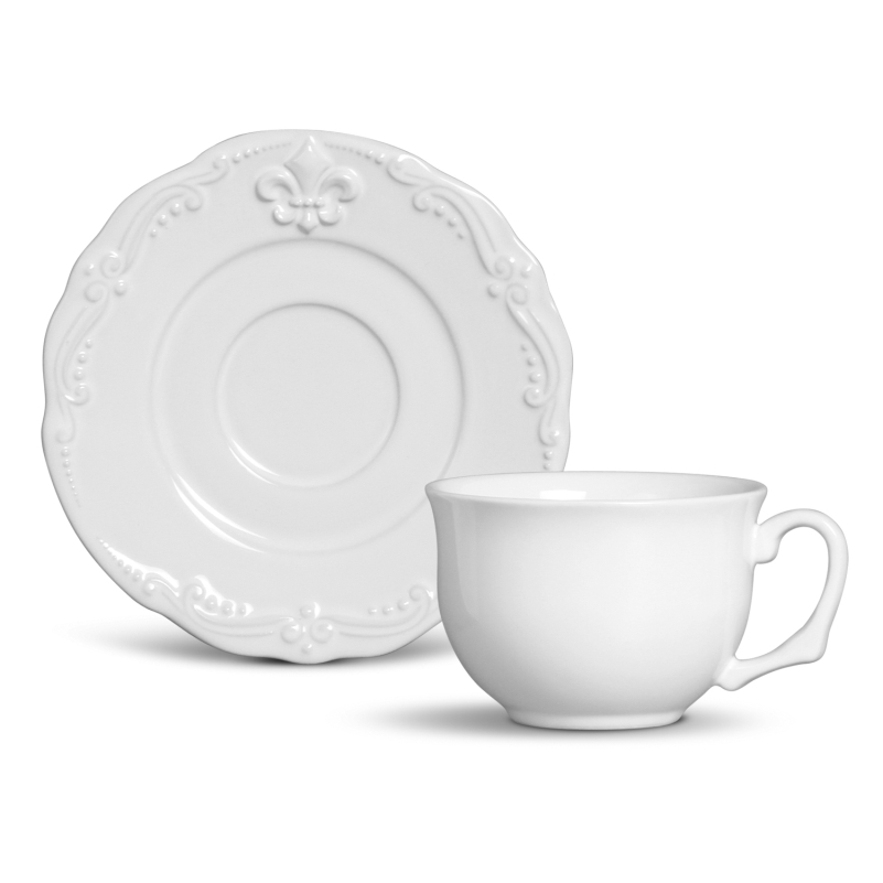 Xícara p/ Chá com Pires Flor de Lis Branco (6 Unidades)