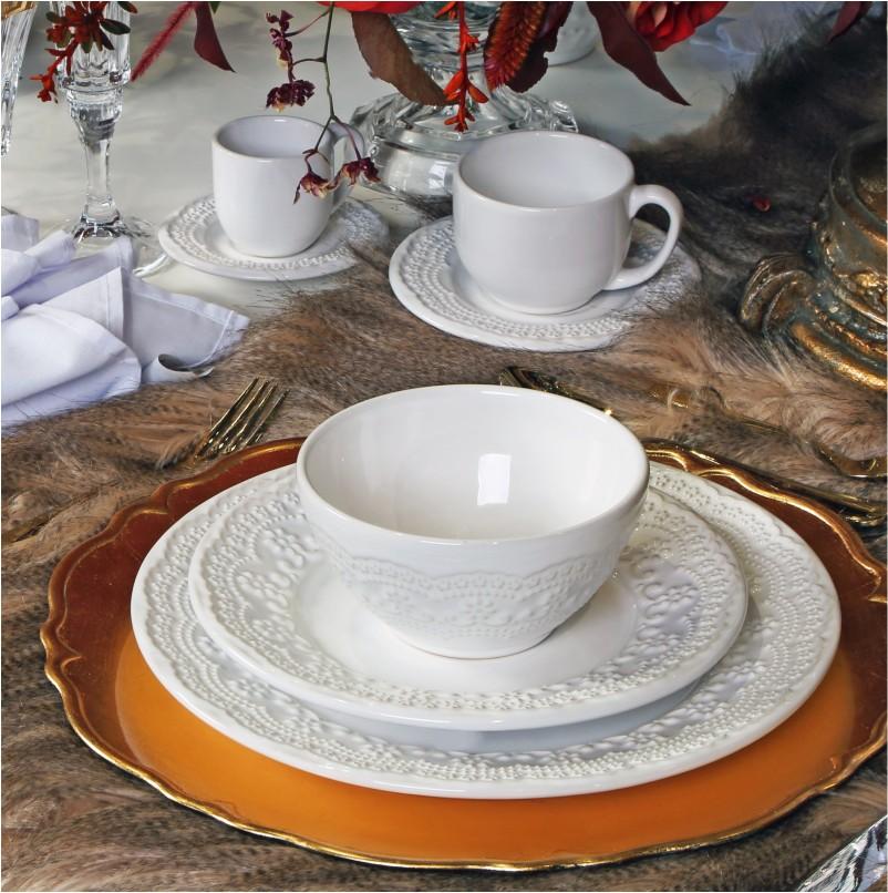 Xícara p/ Chá Madeleine Branco (6 Unidades)