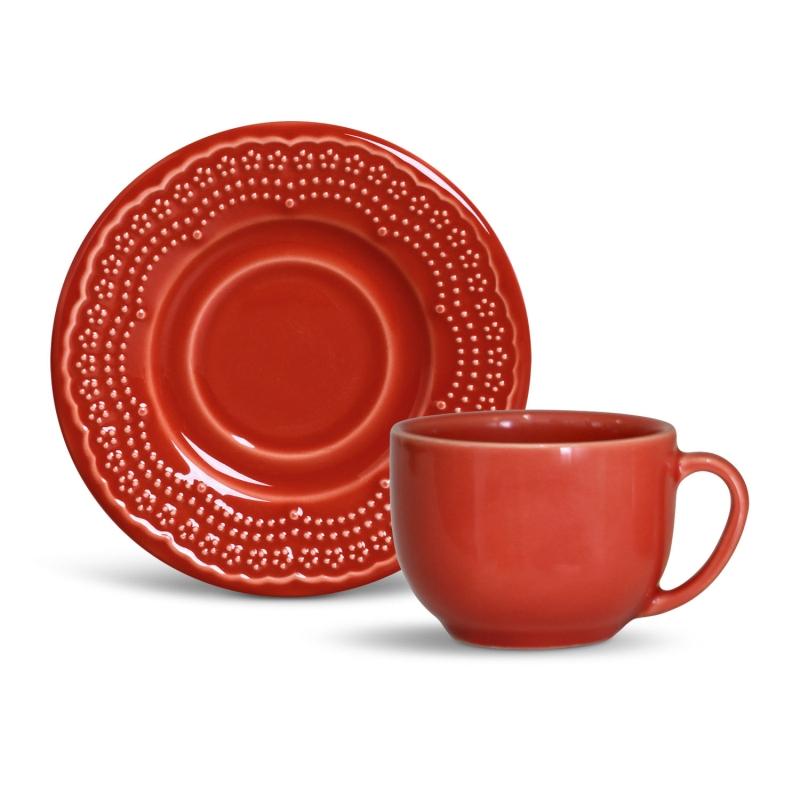 Xícara p/ Chá Madeleine Vermelho (6 Unidades)