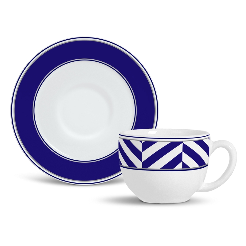 Xícara de Chá com Pires Navy (6 Unidades)