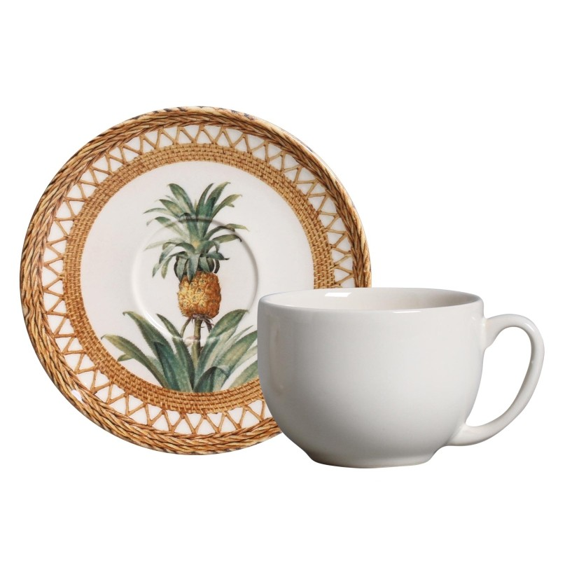 Xícara p/ Chá Pineapple Natural (6 Unidades)