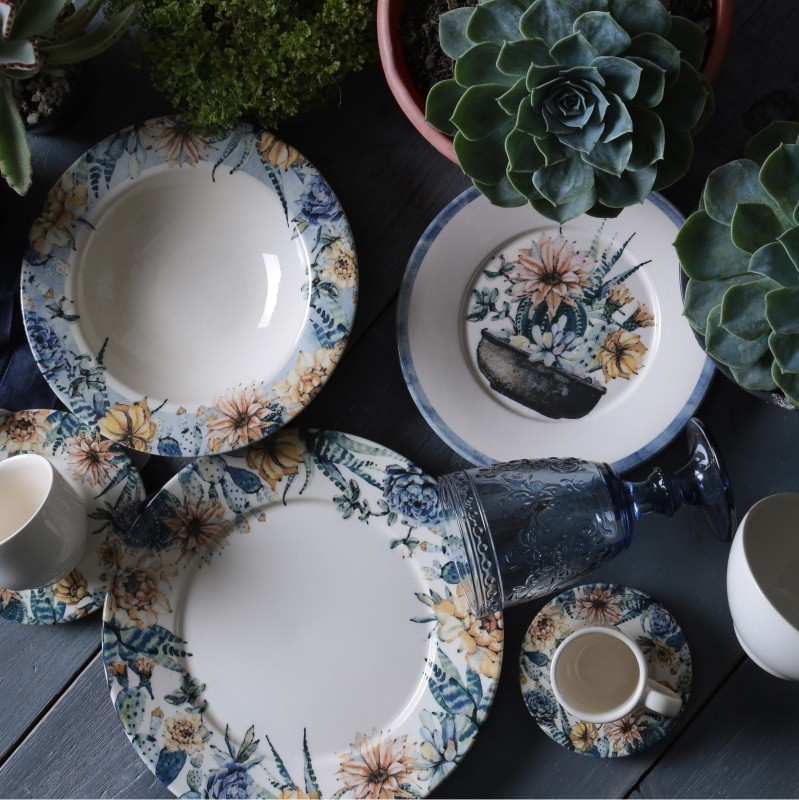 Xícara p/ Chá Succulents (6 Unidades)