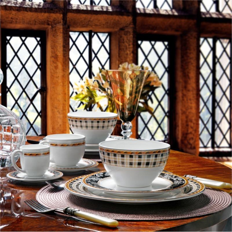 Xícara de Chá com Pires Tartan (6 Unidades)