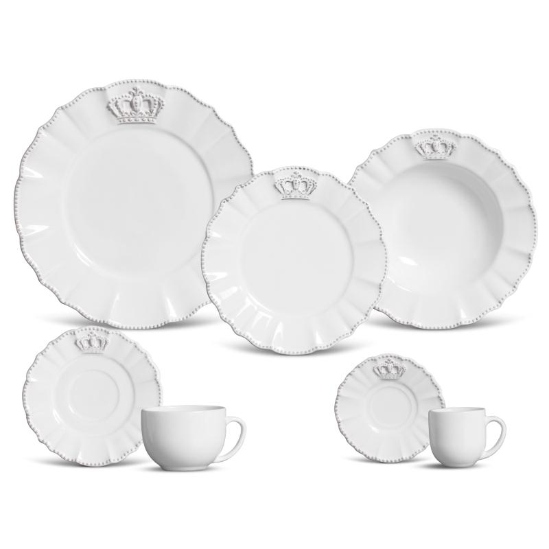 Xícara de Chá com Pires Windsor Branco (6 Unidades)