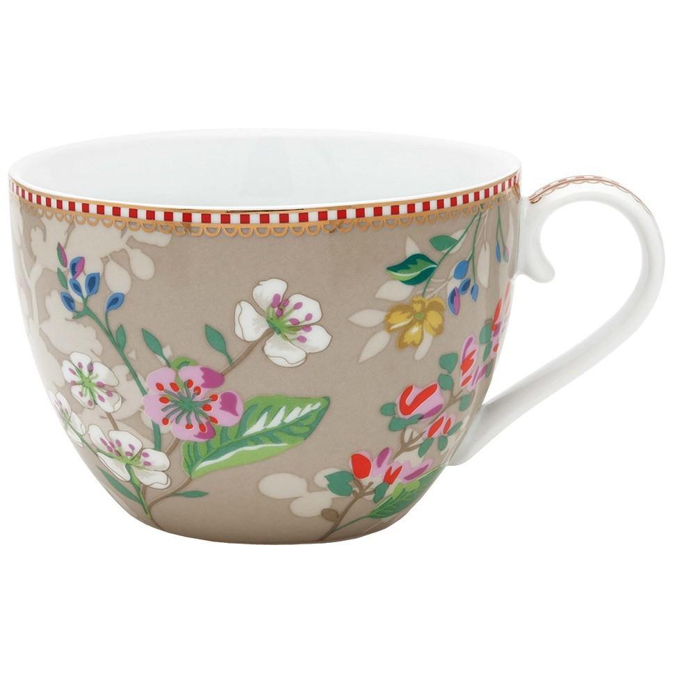 Xícara de Chá Extra Grande Hummingbirds Cáqui - Floral