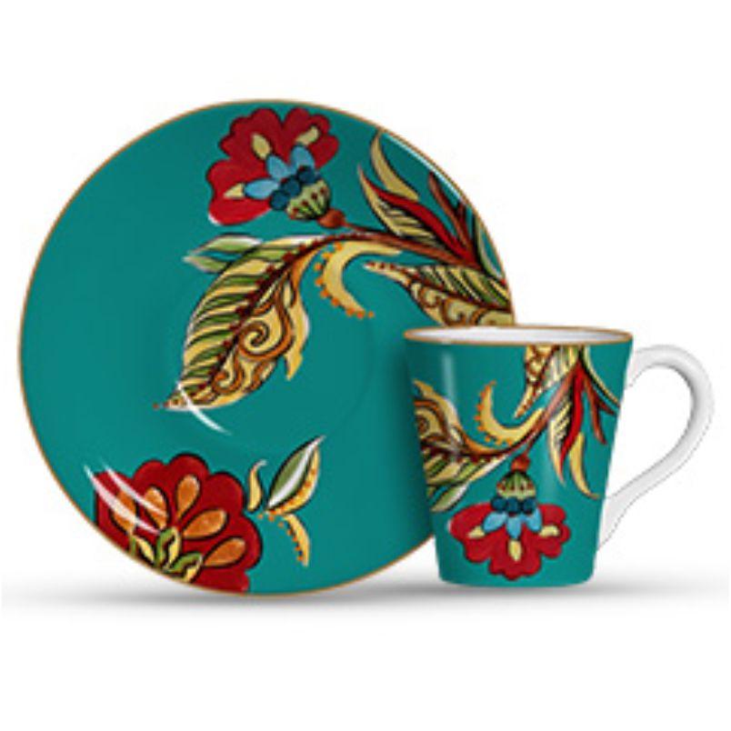 Xícara p/ Chá Flora Azul (6 Unidades)