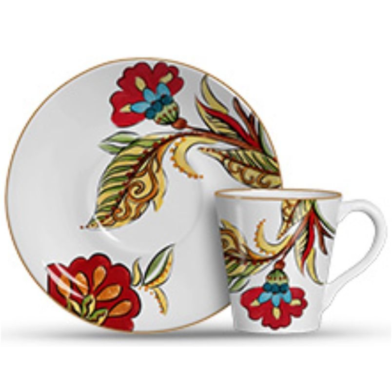Xícara p/ Chá Flora Branco (6 Unidades)