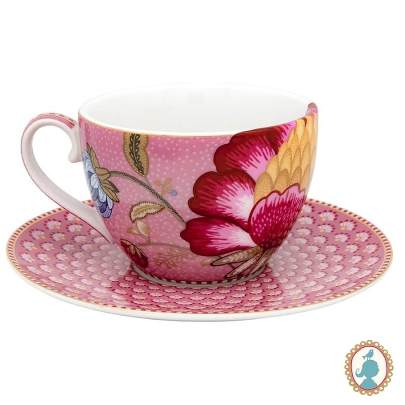 Xícara de Chá Rosa - Floral Fantasy