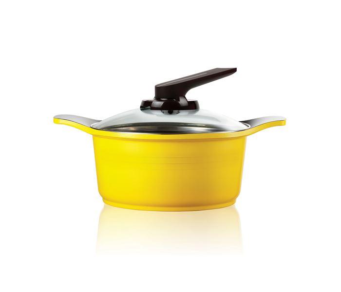 Panela Caçarola Amarela 20 cm com tampa de vidro