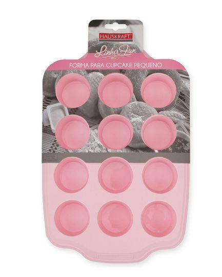 Forma para Cupcake Pequeno de Silicone Rosa HAUSKRAFT