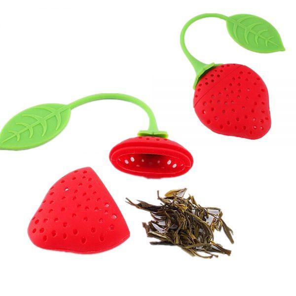 Porta Chá em  Silicone Morango Prana