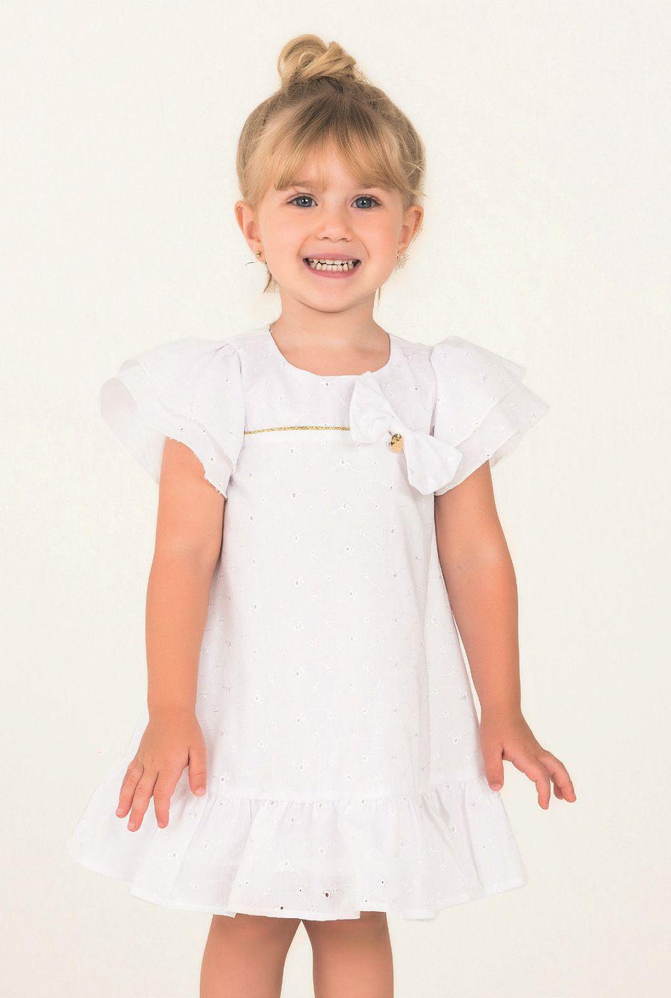 Vestido Mon Sucre Laise Branco Com Friso Dourado