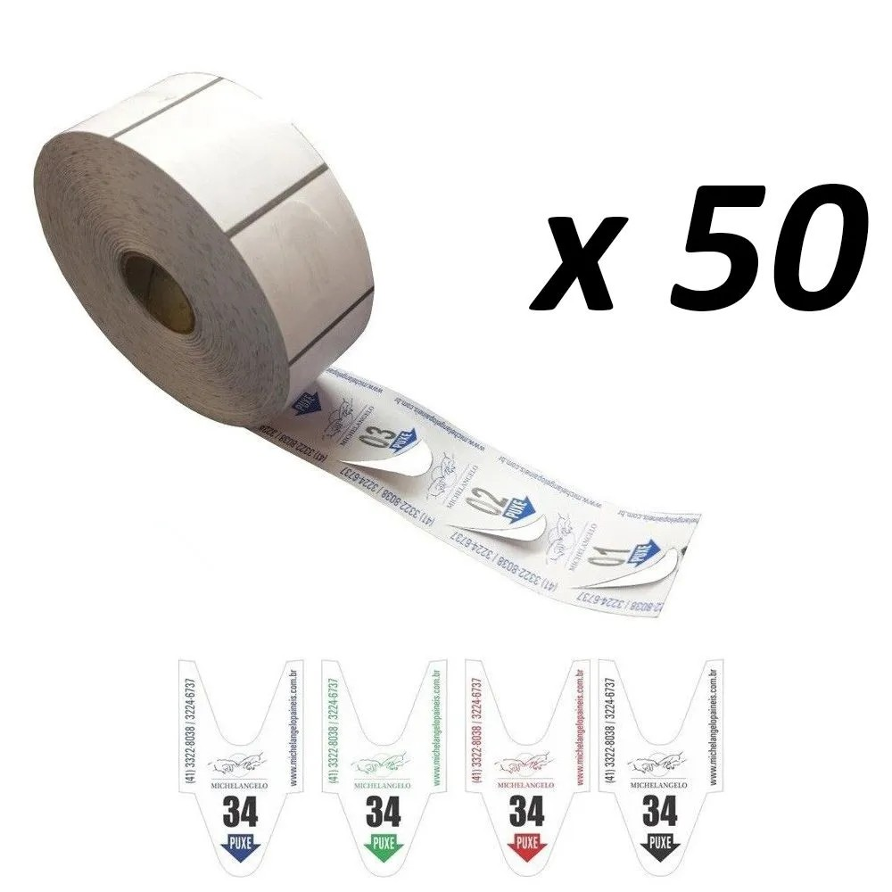 Bobina de Senha Bico de Pato 2 Dígitos 00-99 com 2.000 Senhas (caixa com 50 rolos)