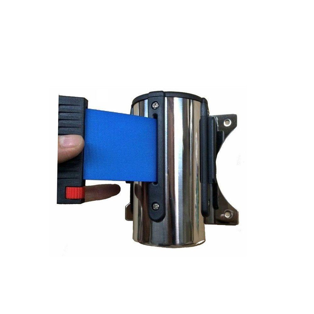 Cassete para fixação na parede com fita retrátil AZUL