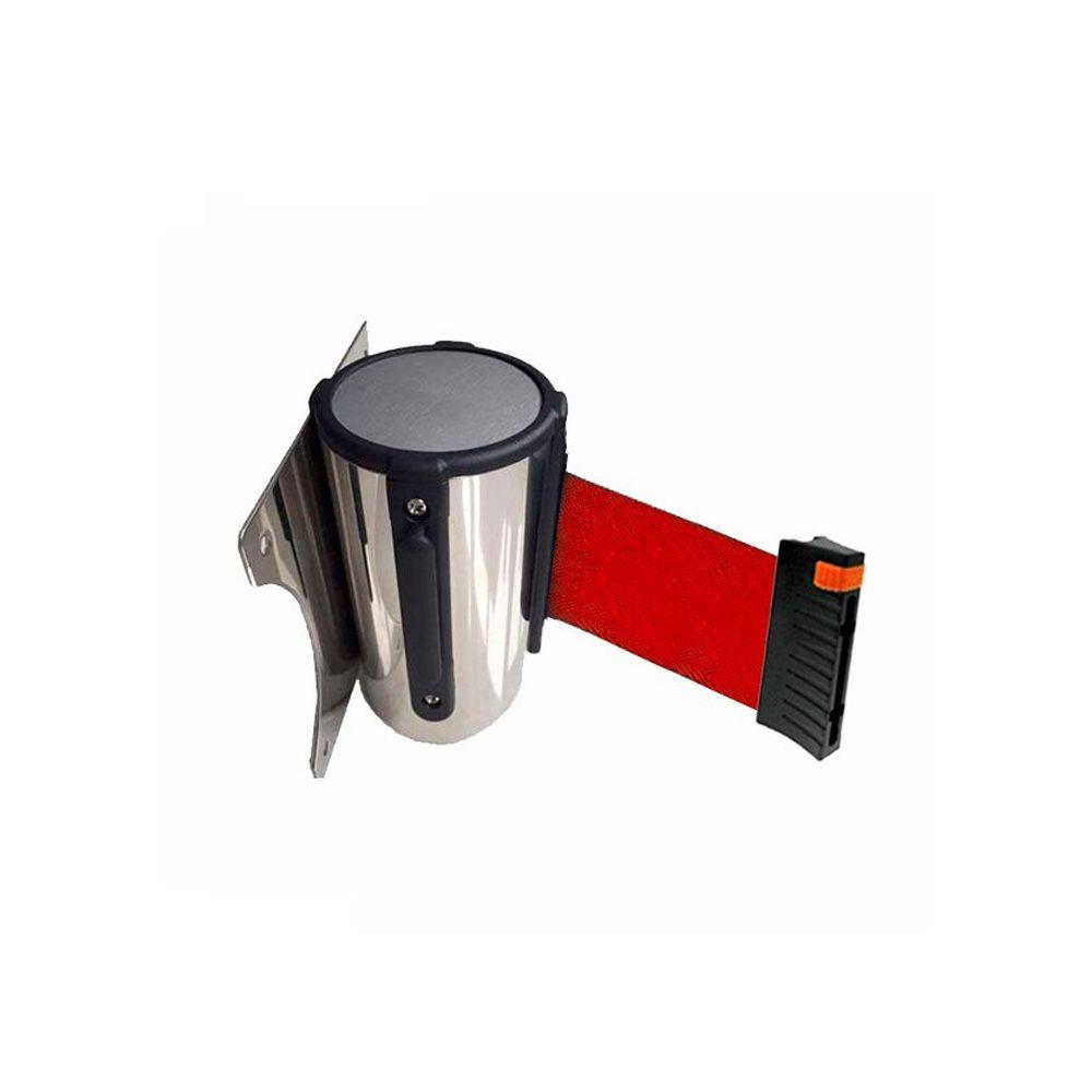 Cassete para fixação na parede com fita retrátil VERMELHA