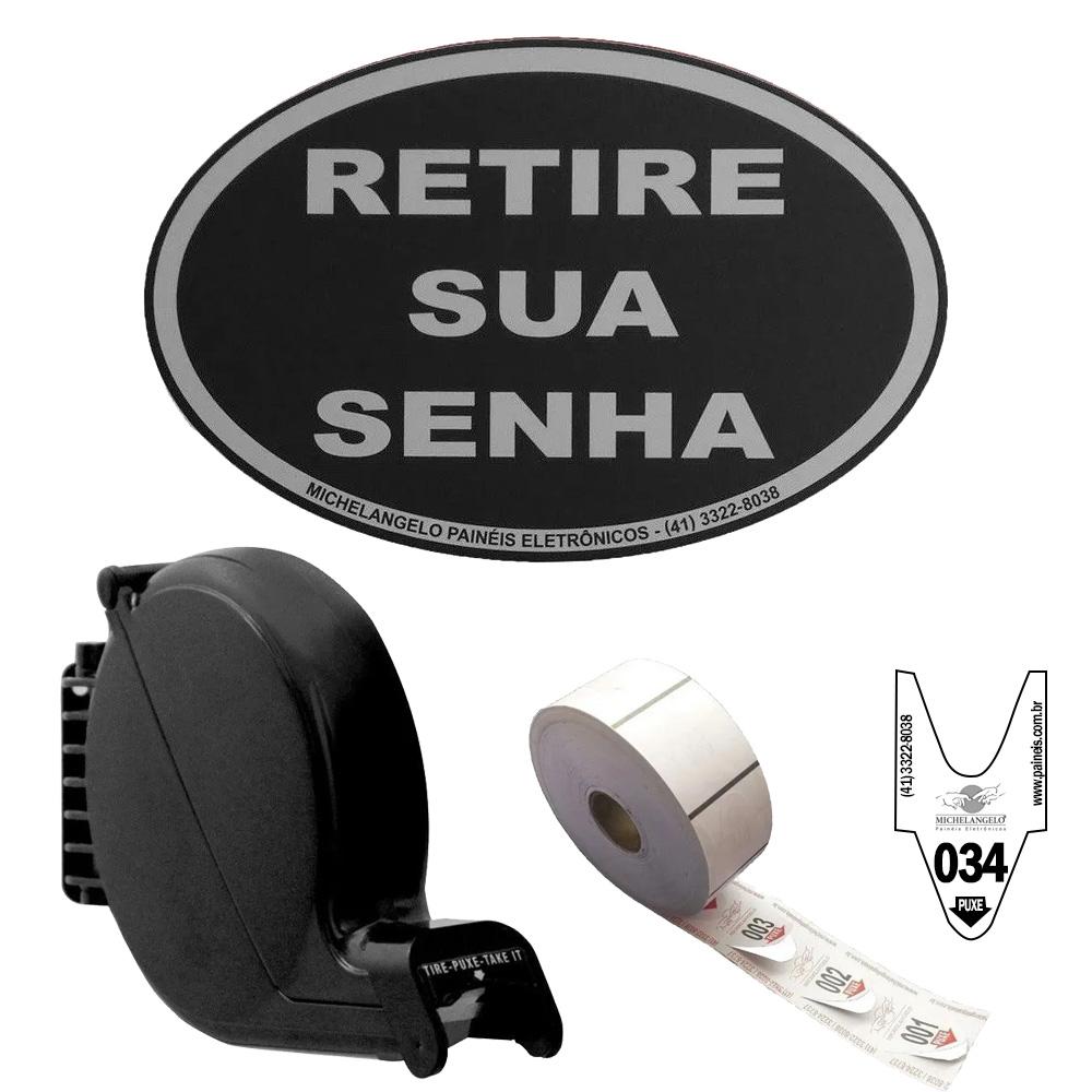 Kit Dispensador de Senhas Bico de Pato + Placa Retire sua Senha + Bobina 3 Dígitos - cor Preta