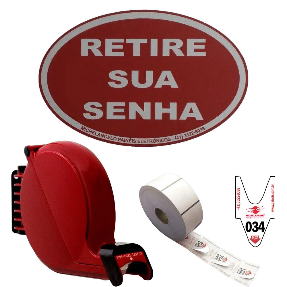 Kit Dispensador de Senhas Bico de Pato + Placa Retire sua Senha + Bobina 3 Dígitos - cor Vermelha