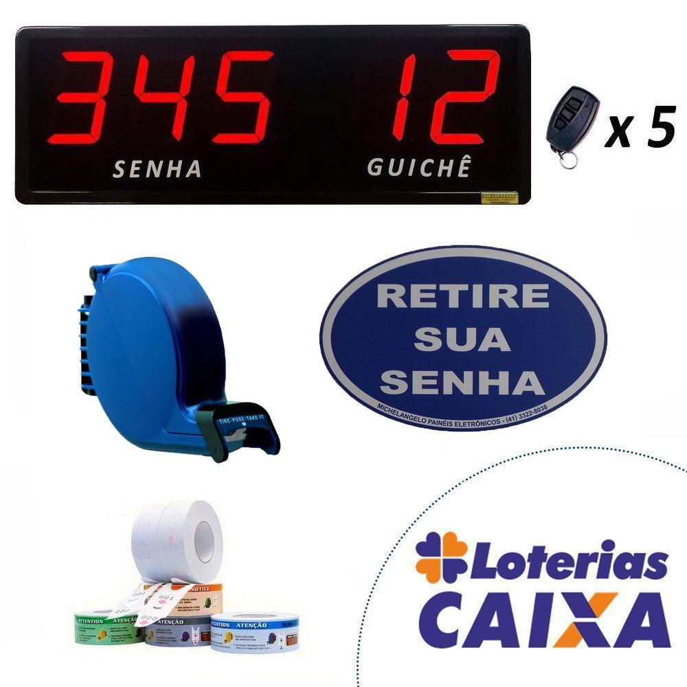 Kit Lotérica II - Senha e Guichê com Dispensador Manual de Senhas Bico de Pato