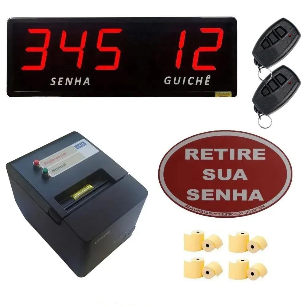 Kit Lotérica III - Painel de Senha Guichê + Impressora de Senhas + Acessórios