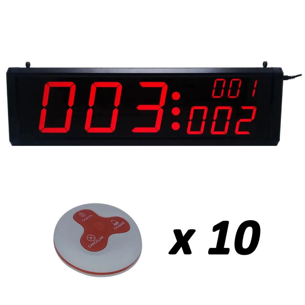 Painel Chama Garçom 3 Campos + 10 Controles de Mesa