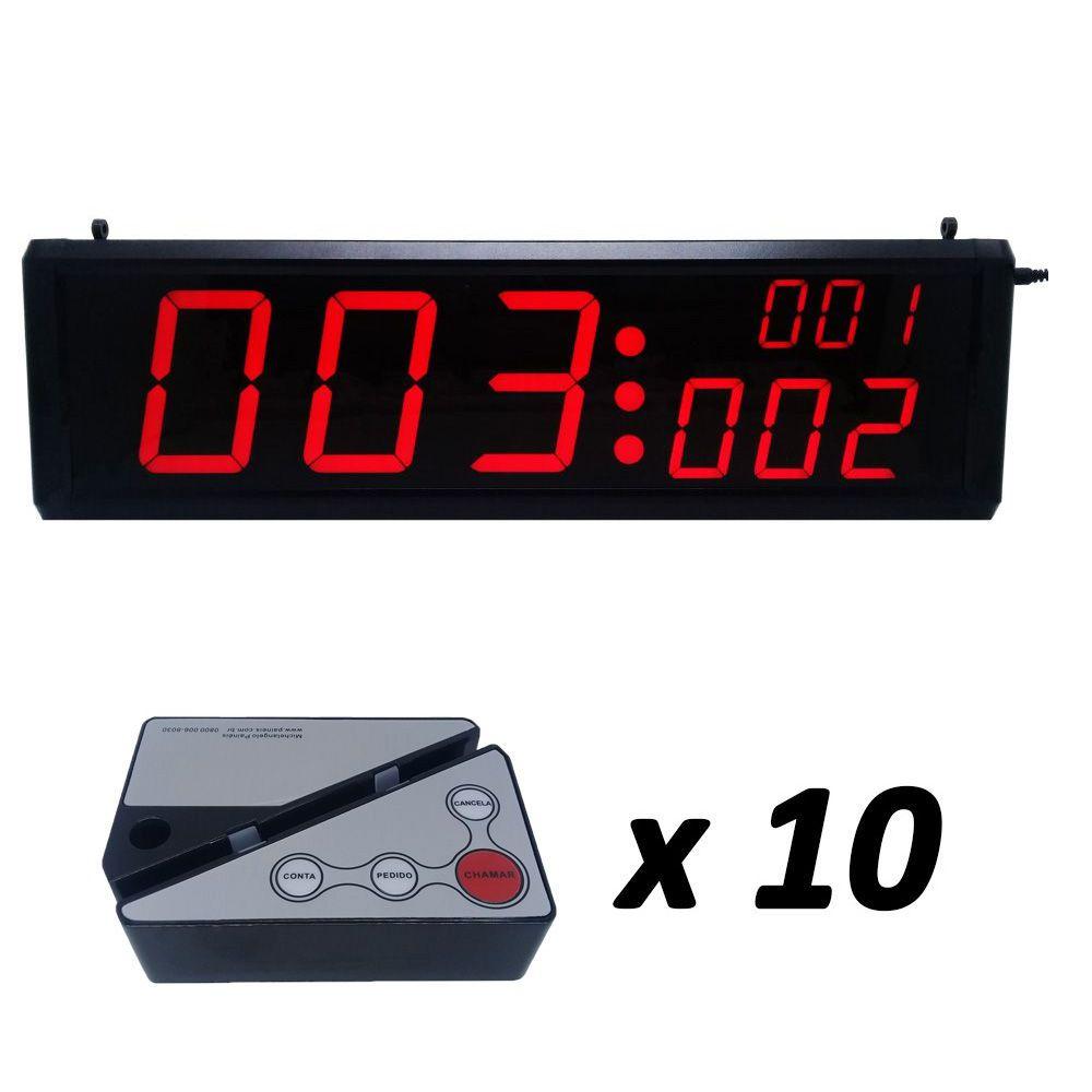 Kit Painel Chama Garçom GENIUS (3 Campos) + 10 Controles Porta-Cardápio