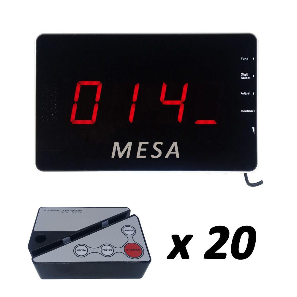 Kit Painel Chama Garçom SMART + 20 Controles Porta-Cardápio
