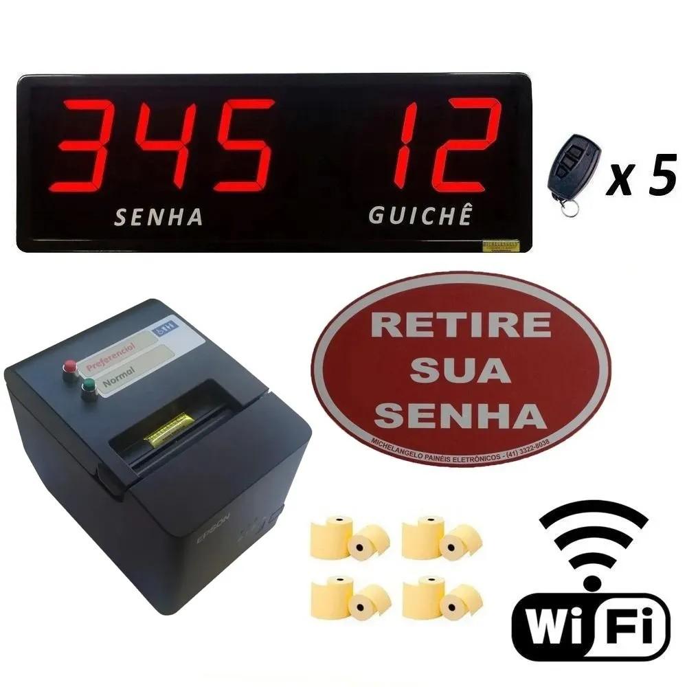 Kit Senha e Guichê II Wi-Fi - Painel de Senha e Guichê + Impressora Sem Fio + Acessórios
