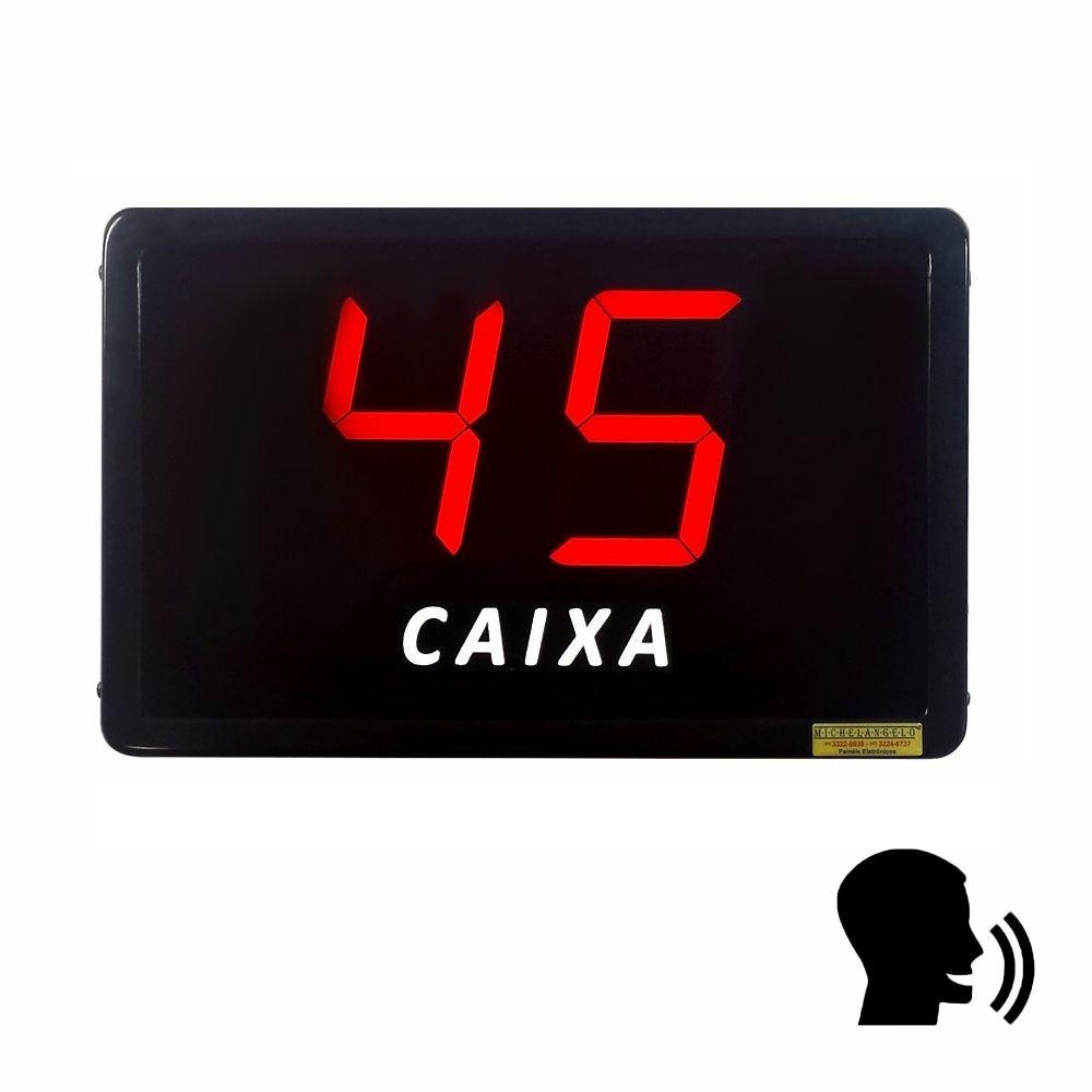 Painel de Fila Única com Dígitos de 10 cm com Aviso de Voz (VOICER)