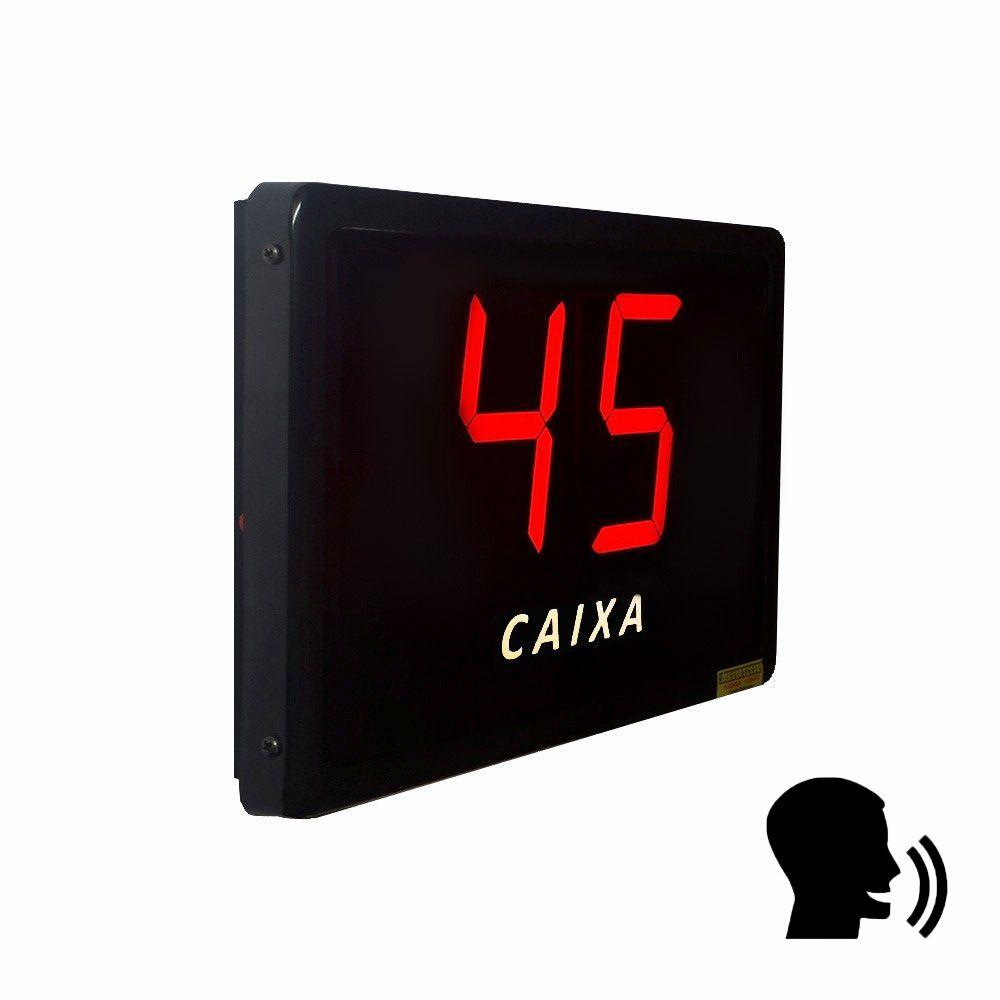 Painel de fila única 10 cm com aviso de voz (voicer) via RF + 5 controles sem fio
