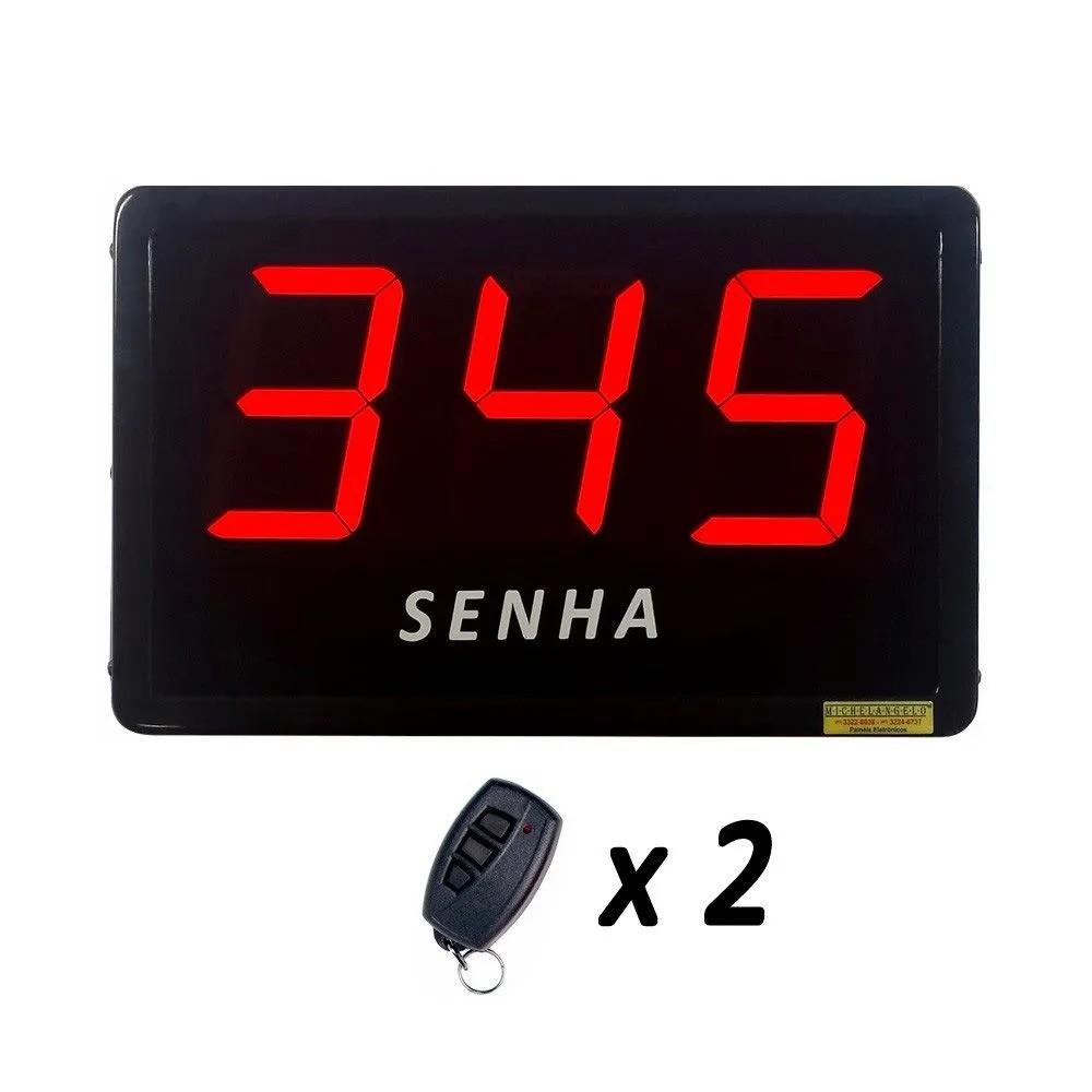 Painel de Senha com 3 Dígitos de 10 cm + 2 Controles sem Fio