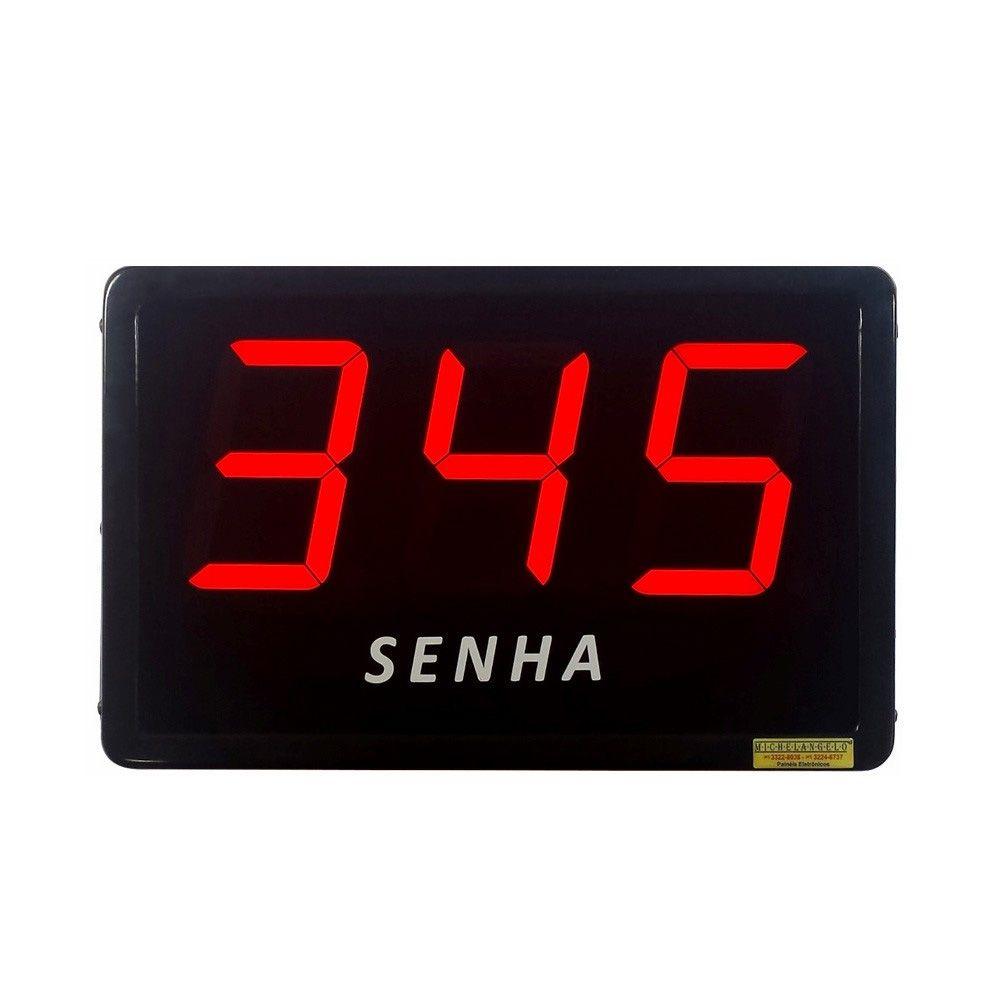 Painel de senha com dígitos de 10 cm + 2 controles sem fio