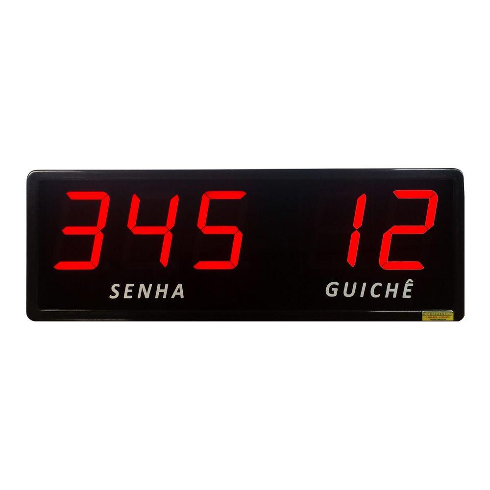 Painel de Senha e Guichê com Dígitos de 10 cm