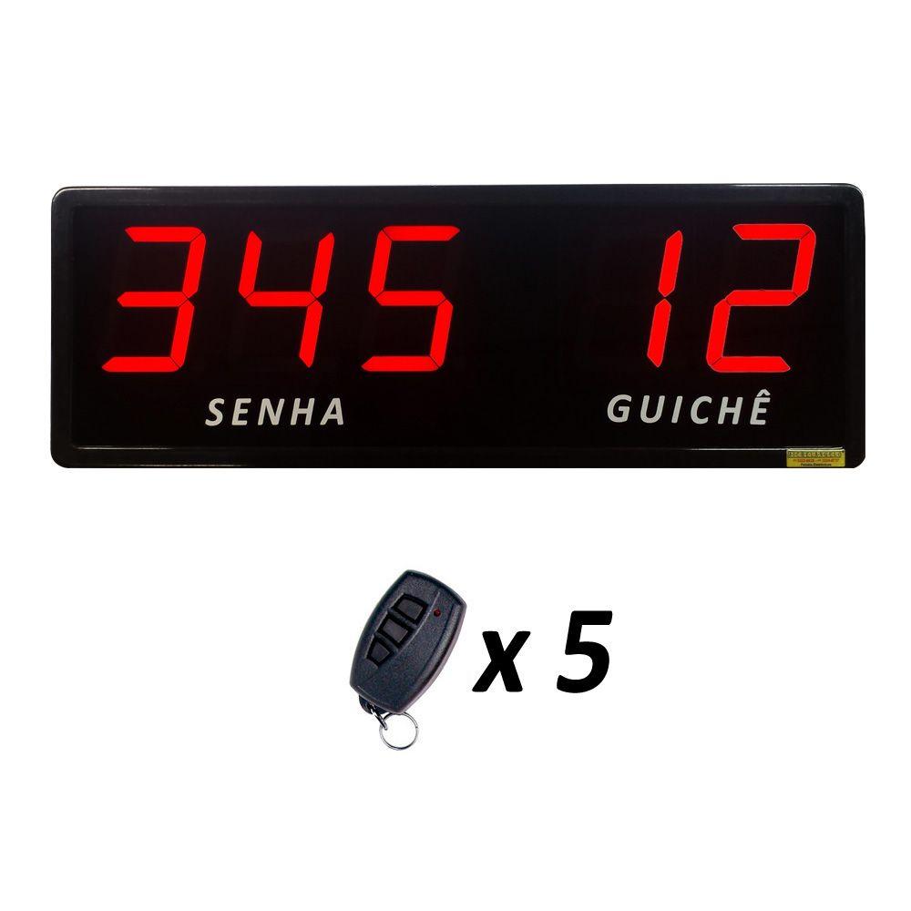 Painel de Senha e Guichê com Dígitos de 10 cm + 5 Controles