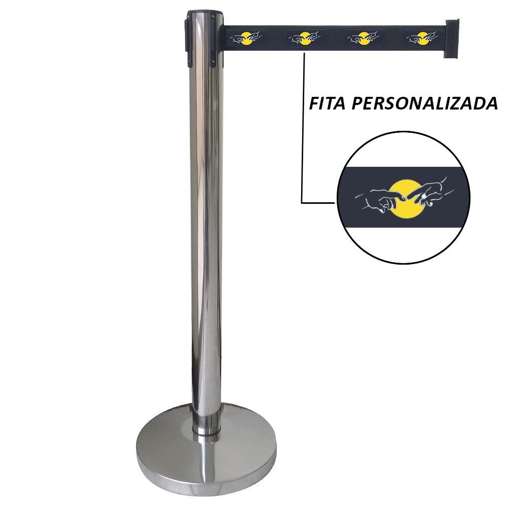 Pedestal separador de fila CROMADO com fita PERSONALIZADA