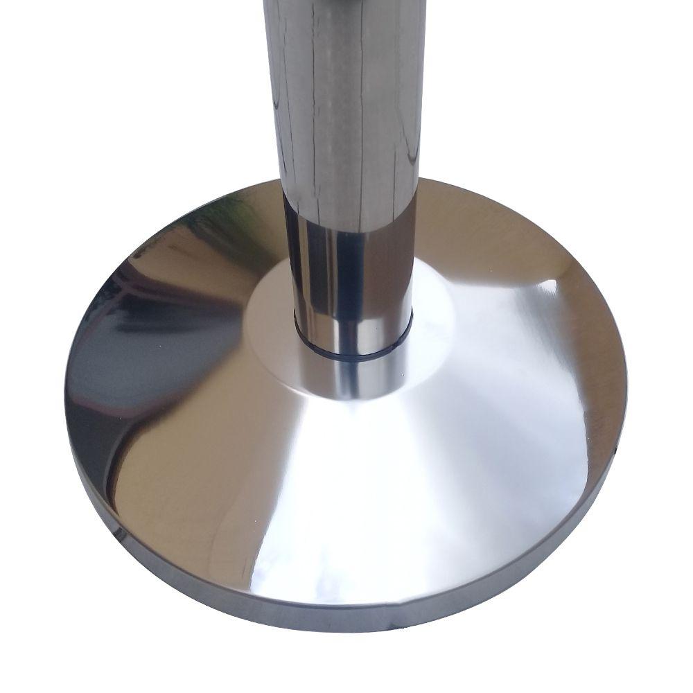 Pedestal separador de fila CROMADO com fita PRETA