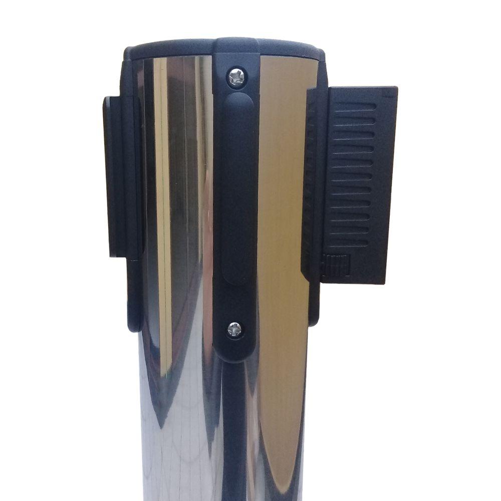 Pedestal separador de fila CROMADO DUPLO com fita VERMELHA