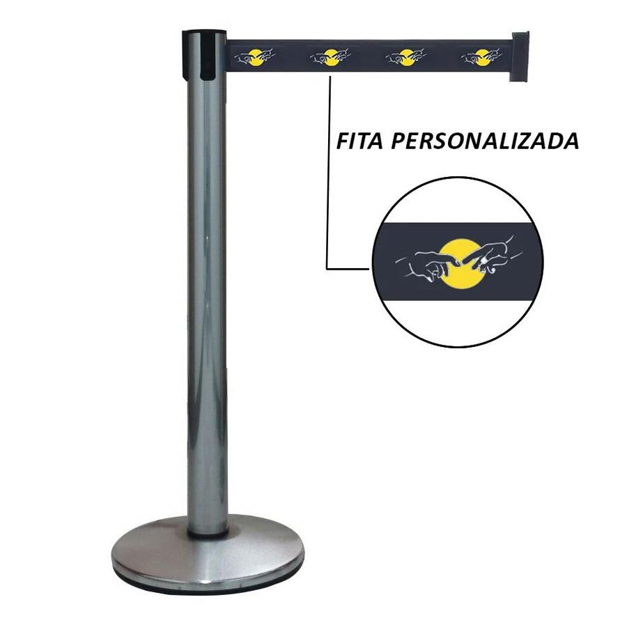 Pedestal Separador de Fila Easyline Neon Cromado com Fita Personalizada