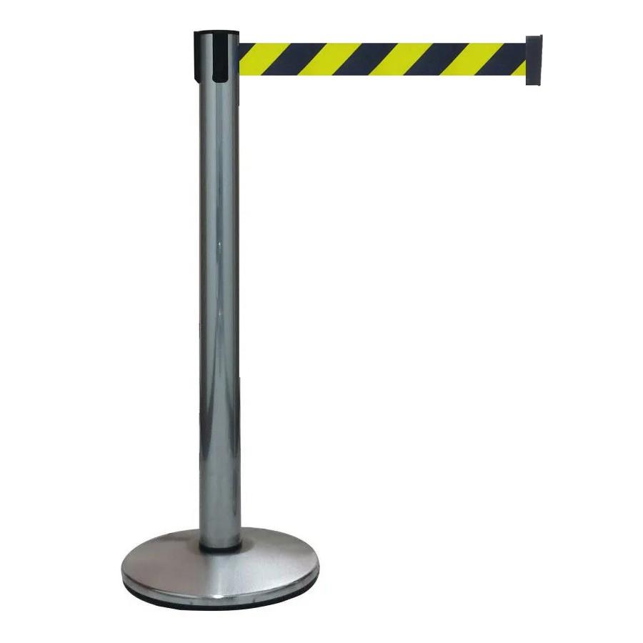 Pedestal Separador de Fila Easyline Neon Cromado com Fita Zebrada