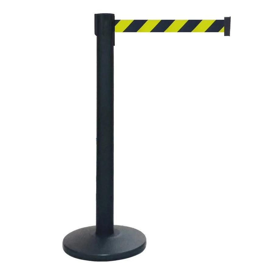 Pedestal Separador de Fila Easyline Neon Preto com Fita Zebrada